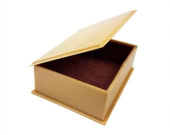 Vintage French Ivory Celluloid Box // Small Hinged Velvet Lined Trinket Jewelry Storage Box // Vanity, Dresser, Bath, Boudoir Home Decor