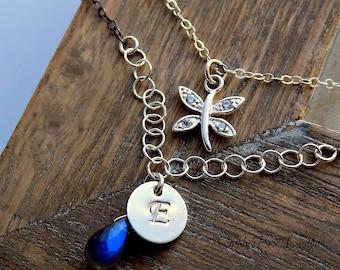 Multi Strand Gemstone Necklace Labradorite and Initial Jewelry CZ Dragonfly Necklace  Double Strand Black Oxidized Silver Jewelry