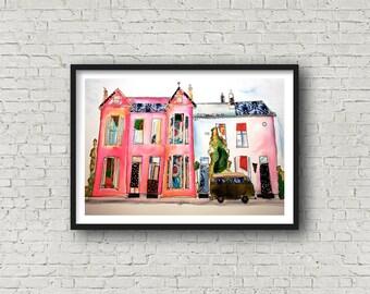 House - Pink House - Terrace Street - Terrace houses - Campervan - Print