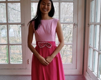 NEW YEARS SALE Two Pinks Vintage Prom Dress/Vintage 1960s/Color Block Formal Dress With Bow/Priscilla of Boston Party Dress/Size Xs