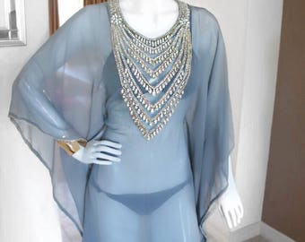 Gray and Silver Embellished Sheer Caftan