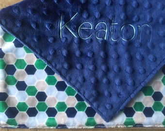 "Create Your Own Monogrammed Blue/Green Hexagons Minky Baby Lovey. 17""  Minky Security Blanket."