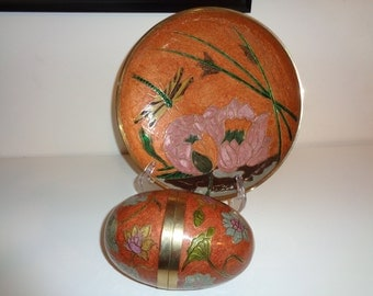 Vintage  Art Nouveau Cloisonné Enamel and Brass Bowl with matching Egg Shaped vessel,  Made in India  in Very Good Vintage Condition