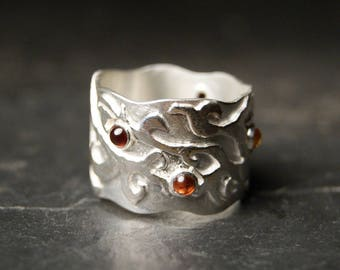 Briar Rose - Garnet and Citrine Vine Ring in Sterling Silver - Wide Band, SIZE 7,3/4 - 8,3/4