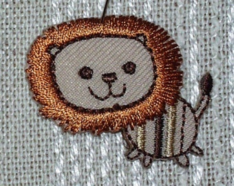 "Iron on Applique Set of 4 Bronze Happy Lions Applique ,Browns Tan, Black 1.25"" x  1.5""  Super Cute   Ships Free Inside US"