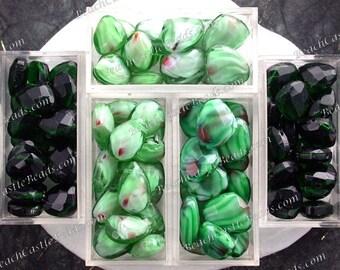 Sale Beads, Closeout Beads, Destash Beads, 89 Green Glass Briolette Beads, Faceted Glass Teardrop Beads, Destash Supplies DS-741-1