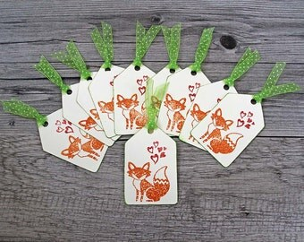 Little Fox Valentines for the Classroom, Handmade Mini Cards,  Valentine Favors and Tags, Kids' Valentines, Fox with Hearts, Cream and Green