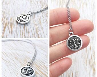 Libra Zodiac, Libra Necklace, Libra Jewelry, Zodiac Necklace, Zodiac Jewelry, Sterling Silver Necklace, Chain Necklace, Zodiac Pendant Charm