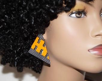 Stud Earrings - Triangle Fabric Covered Wood Earrings Orange Abstract