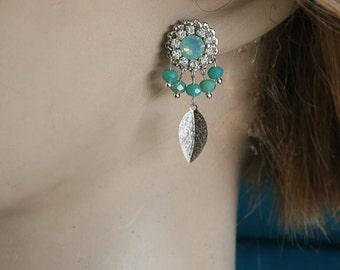 Aquamarine Earrings,Bridal Earrings,Aquamarine Stone,Aquamarine Jewelry,Mothers Day Gift,Bridesmaid Earrings,Turquoise,Swarovski,Silver Leaf