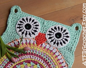 OWL RUG 'MINT' by ATERGcrochet (ready to ship)