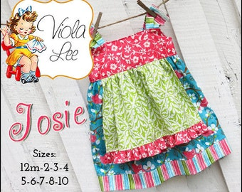 Josie...  Girl's Dress Pattern. Girl's Apron Knot Dress Pattern. Jumper Pattern. INSTANT DOWNLOAD.pdf Sewing Pattern. 2/3T-8