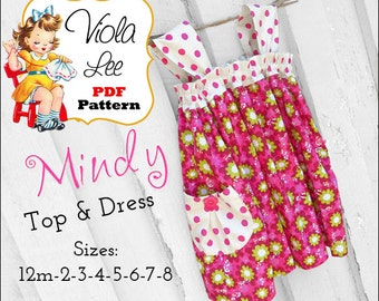 Mindy Girls Dress Pattern pdf, Girls Sewing Pattern. Girls Clothing, Girls Top Pattern, pdf Sewing Pattern, Toddler Dress Sewing Pattern.