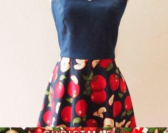 Christmas SALE Christmas Dress Dress 1950, Retro Dress, Tropical Dress, Red Apple Swing Dress, women Halter Vintage Inspired Tea Party Dr...