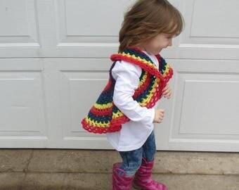 Crochet rainbow baby boho hippie style circle vest sleeveless sweater.  Baby toddler spring sweater vest rainbow.  Ready to ship todder vest