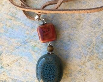 Boho Ceramic Bead Pendant Necklace