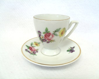 Demitasse Cup and Saucer Set, Floral Bouquet,Gold Trim, Jaegers 01732, Bavaria, Golden Crown