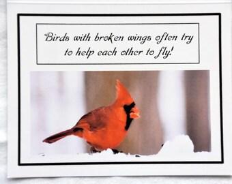 Happy Birds Enjoying the Snow - Notecards