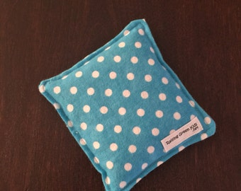 Flaxseed Filled Owie bags, Ouchie Bags, Natural Hot/Cold Therapy Packs Blue Polka Dots