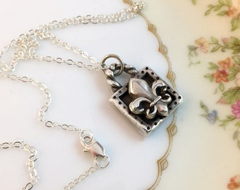 Fleur di lis, Silver Necklace, Handcrafted, Gift, Layered, Pendant