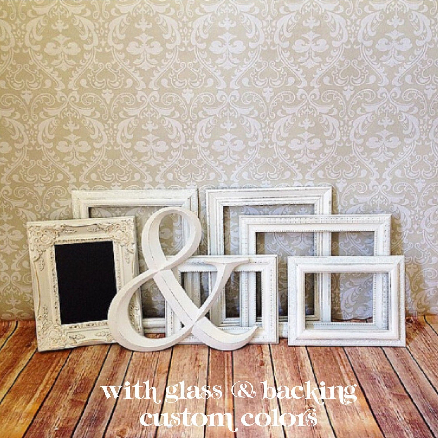 White picture frames ampersand shabby chic wedding w for Ampersand decoration etsy
