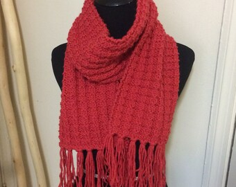 Hand Knit Scarf - Coral Red