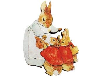Peter Rabbit Mrs Rabbit Beatrix Potter Bunny Brooch Pin Badge Jewellery Gift For Her Stocking Filler Jewellery Accessories