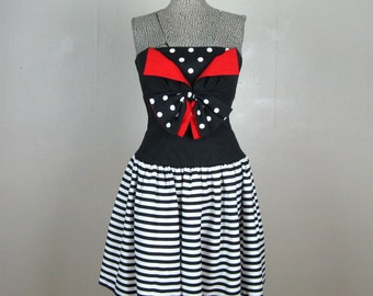 Vintage 1980s Party Dress 80s Black and White Cotton Striped and Polka Dot Pinup Style Dress with Red Accents I Magnin Size S