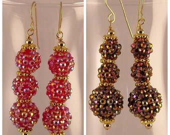 Rhinestone Ball Beads with Gold Pewter Spacers Dangle Earrings