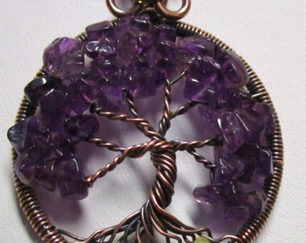 Wire Wrapped Tree of Life, February Tree of Life, Amethyst Tree of Life Pendant, Amethyst Tree of Life Necklace