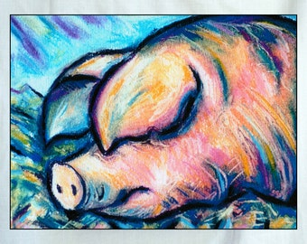 Pig Snoozing Small Canvas Wall Art 6x8x1.5 in.