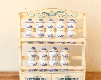 Vintage Spice Jar Set with Wood Rack Blue White Ceramic Spice Jars Bottles Kitchen Spice Jar Set