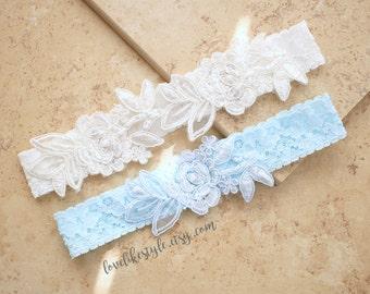 Ivory and Light Blue Embroidery Flower Lace Wedding Garter Set, Mix and Match Wedding Garter Set ,Something Blue, Blue Toss Garter / GT-34A