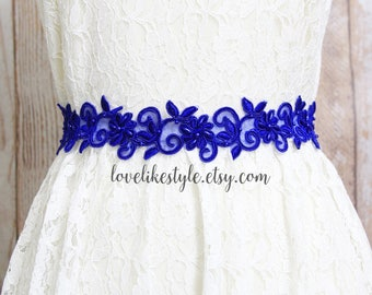 Blue Beaded Lace Sash // Wedding Blue Sash Belt // Bridesmaid Blue Sash // Flower Girl Sash // Blue Lace Headband // SH-43
