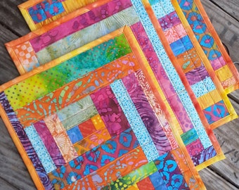 Set of four quilted placemats handmade washable reversible one of a kind ecofriendly gift for a chef cook gardener farmer artist designer