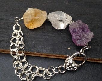 Raw Quartz Bracelet  Natural Gemstone  Jewelry Chunky stone and silver bracelet  Unique jewelry