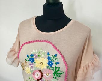 Bohemian Top, Urban T shirt , Bohemian T shirt , Art cross stitched blouse , Art to wear , Urban blouse