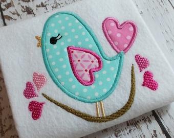 Applique Love bird machine embroidery design file, Valentines Day heart, appliqué heart, appliqué bird, embroidery bird, embroidery heart
