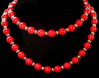 """Trifari Red & Gold Beaded Necklace Single Strand Gold Key Hang Tag 30"""" L Vintage 1970s"""