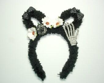 Fuzzy Bunny Headband,Easter,Lolita Gothic,Goth,Halloween,Women Headband,Bunny Ears,Easter Headband,Gift For her,Mori kei,Harajuku