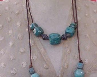 Two Handsome Beads on Leather Ethnic Look Necklaces-Wear Alone or Together