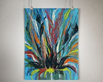 "Plant Study 0010 PAINTING on CANVAS SHEET 12"" x 16"", Snake Plant, Sansevieria"