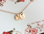 Tiny 14k Rose Gold Filled Initial Necklace / Rose Gold Initial Necklace/ Dainty Initial Necklaces / Rose Gold Jewelry/  Any time Necklace