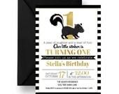 Dapper Skunk Boys 1st Birthday Invitation Woodsy Black Stripe & Gold, Little Stinker Invite, Unique Girl Fun Printable, Print Set (SKUNKBPI)