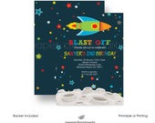 Space Birthday Party Invitation Boys -- Rocket Ship -- Colorful -- Galactic -- Celebration -- Science Invites -- Kids Printable or Printed