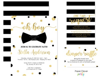 Abstract Baby Shower Invitation Boys -- Black & Gold -- Bow Tie Invite -- Little Man Party -- Sprinkle -- Custom -- Printable -- Printing