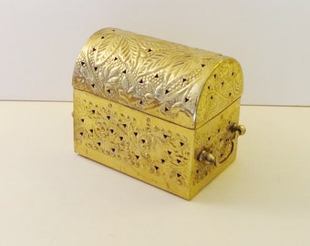 DOMED TREASURE CHEST With Handles - Repousse' & Pierced Decoration - Solid Brass - Made In India