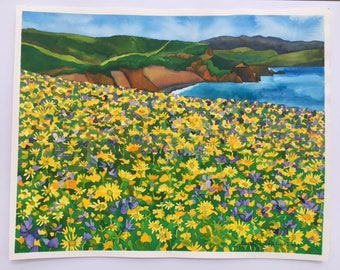 ORIGINAL Watercolor, California Coast with Wildflowers Landscape, One of a Kind Art