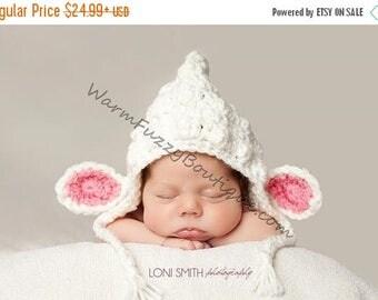 SALE 20% OFF Baby Easter Lamb Bonnet Hat - I Love Ewe - Crochet Newborn Nb Beanie Boy Girl Costume Halloween  Photo Prop Cap Winter Outfit