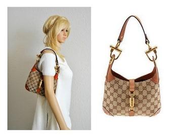 Vintage Gucci Bag, Leather, Horsebit, Handbag, Satchel, Brown GG Canvas, Small Jackie O, Hobo Bag
